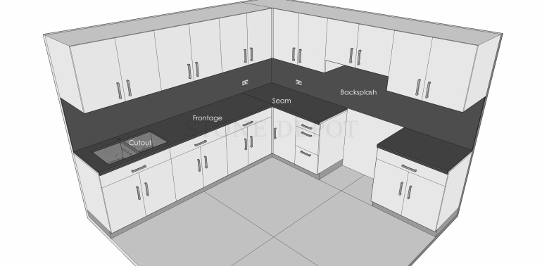 Parts, Components, Elements, Details, Kitchen, Countertop, Counter Top, Frontage, Backsplash, Skirting, Edge Profile, Cutout, Wall Outlet, Seam, Joint, Joint Connections, Laminate, Edge Profile